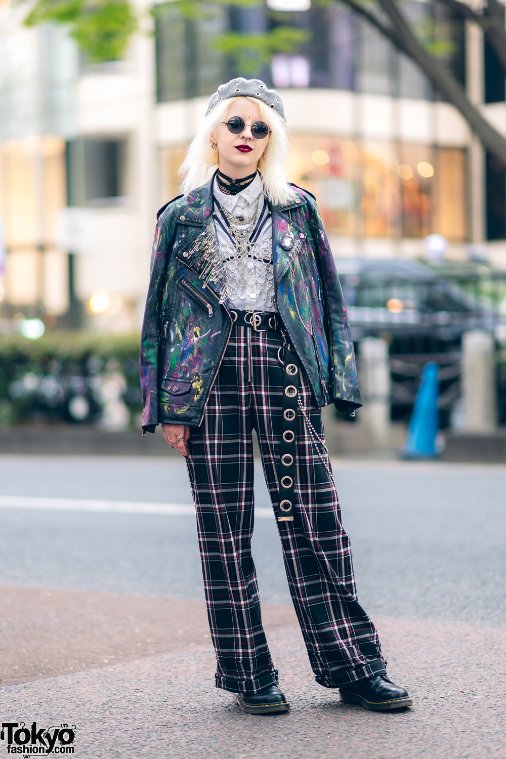 Tokyo Streetwear w/ Platinum Blonde Hair, Paint Splatter Jacket, Plaid Pants, Chain Top, Harness, Leather Boots & Silver Accessories