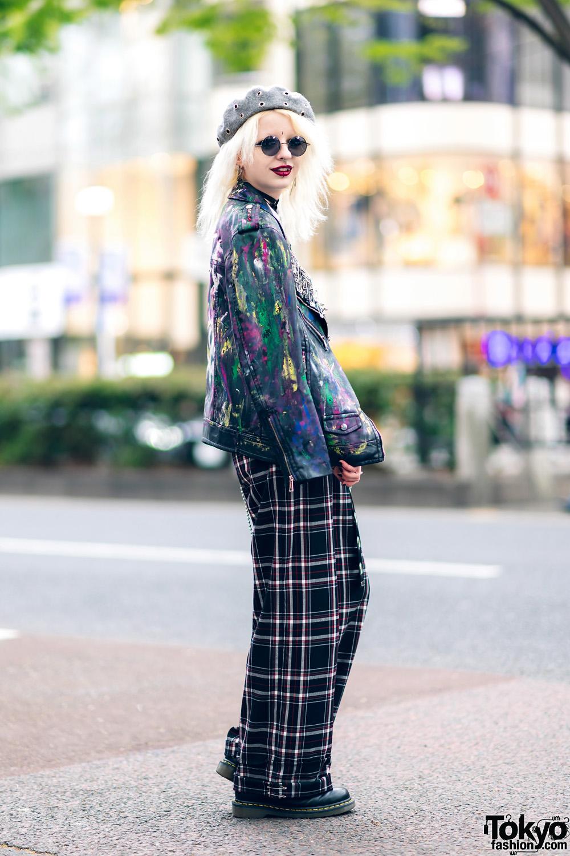 Tokyo Streetwear W Platinum Blonde Hair Paint Splatter