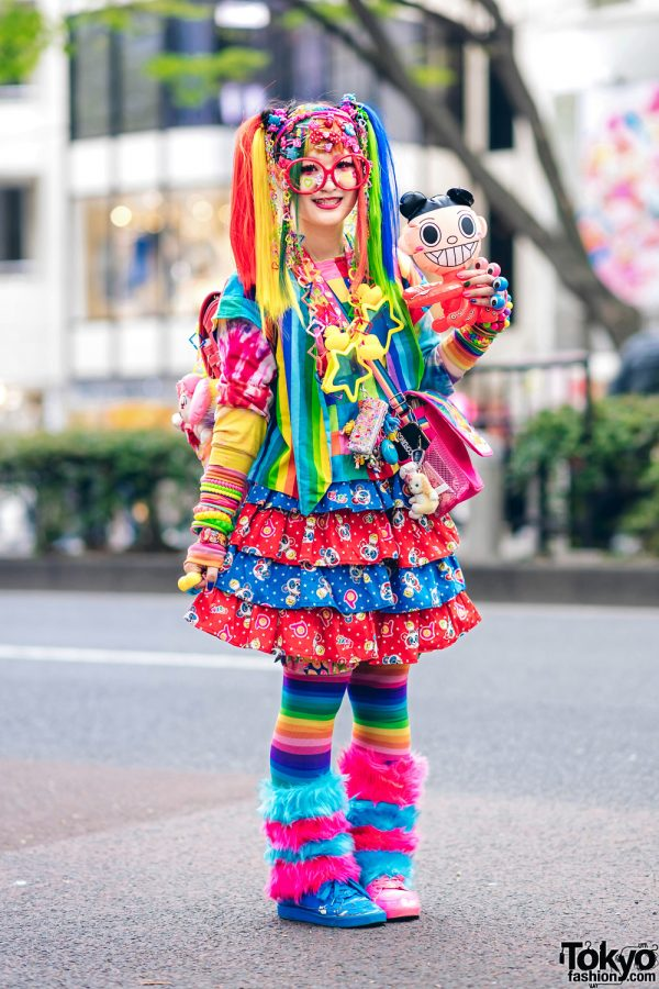 Rainbow Decora Style in Harajuku w/ Handmade Clothing, Tiered Skirt, Tomoe Shinohara Doll, Furry Leg Warmers, Care Bears, Sailor Moon & Decora Accessories