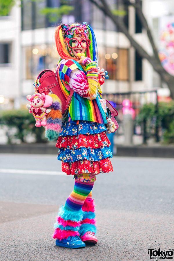 Rainbow Decora Style in Harajuku w/ Handmade Clothing, Tiered Skirt, Tomoe Shinohara Doll, Furry Leg Warmers, Care Bears, Sailor Moon & Decora Accessories 3