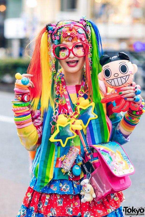 Rainbow Decora Style in Harajuku w/ Handmade Clothing, Tiered Skirt, Tomoe Shinohara Doll, Furry Leg Warmers, Care Bears, Sailor Moon & Decora Accessories 5