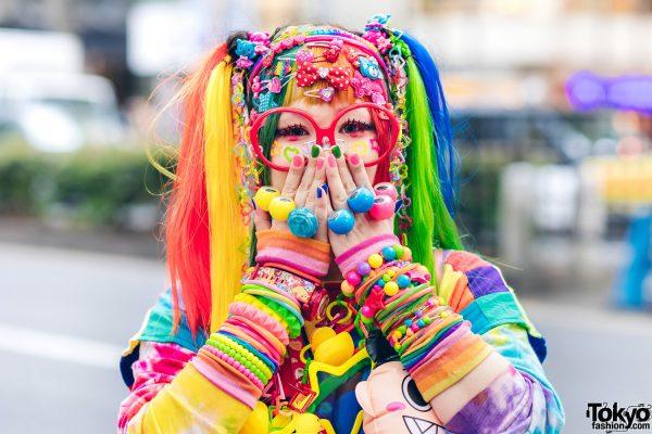 Rainbow Decora Style in Harajuku w/ Handmade Clothing, Tiered Skirt, Tomoe Shinohara Doll, Furry Leg Warmers, Care Bears, Sailor Moon & Decora Accessories 6