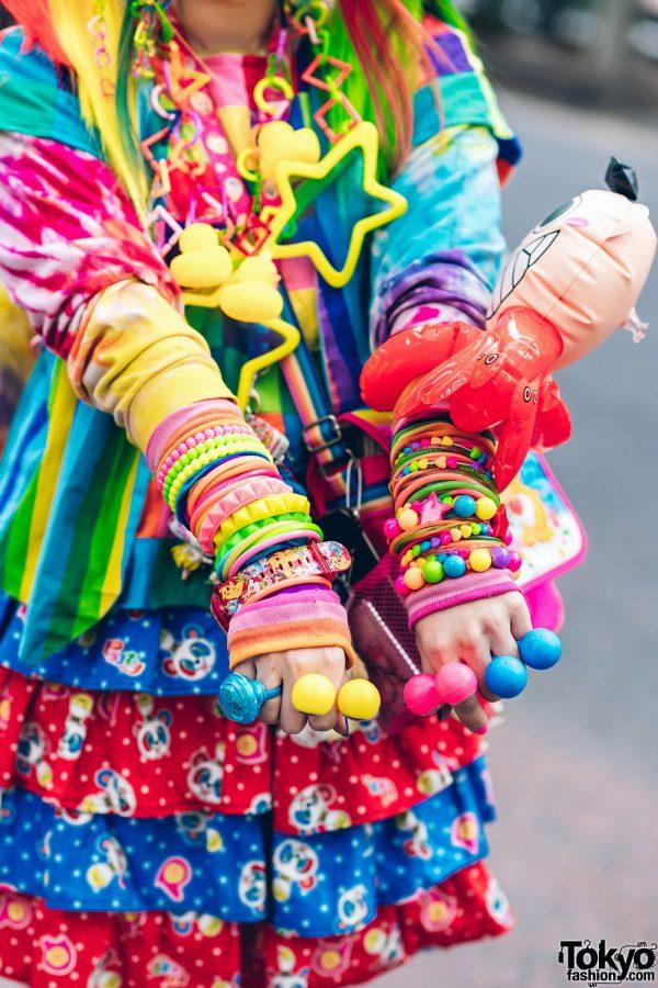 Rainbow Decora Style in Harajuku w/ Handmade Clothing, Tiered Skirt, Tomoe Shinohara Doll, Furry Leg Warmers, Care Bears, Sailor Moon & Decora Accessories 10