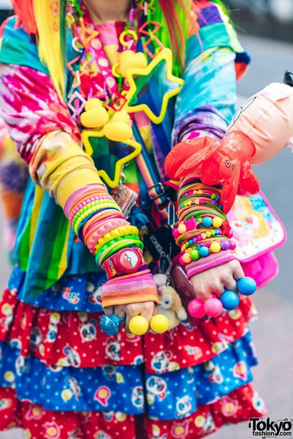 Rainbow Decora Style in Harajuku w/ Handmade Clothing, Tiered Skirt, Tomoe Shinohara Doll, Furry Leg Warmers, Care Bears, Sailor Moon & Decora Accessories 11