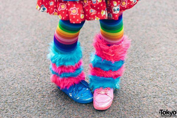 Rainbow Decora Style in Harajuku w/ Handmade Clothing, Tiered Skirt, Tomoe Shinohara Doll, Furry Leg Warmers, Care Bears, Sailor Moon & Decora Accessories 14
