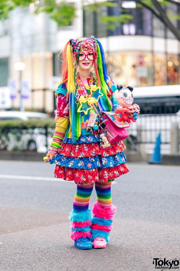 Rainbow Decora Style in Harajuku w/ Handmade Clothing, Tiered Skirt, Tomoe Shinohara Doll, Furry Leg Warmers, Care Bears, Sailor Moon & Decora Accessories 4