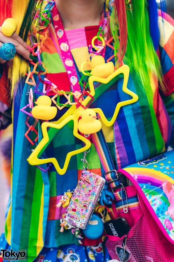 Rainbow Decora Style in Harajuku w/ Handmade Clothing, Tiered Skirt, Tomoe Shinohara Doll, Furry Leg Warmers, Care Bears, Sailor Moon & Decora Accessories 7