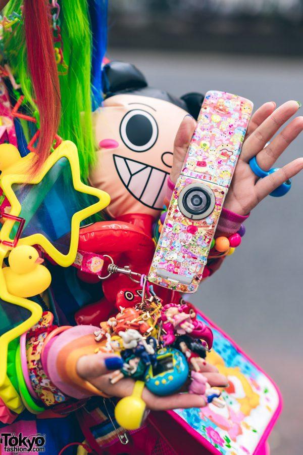 Rainbow Decora Style in Harajuku w/ Handmade Clothing, Tiered Skirt, Tomoe Shinohara Doll, Furry Leg Warmers, Care Bears, Sailor Moon & Decora Accessories 8