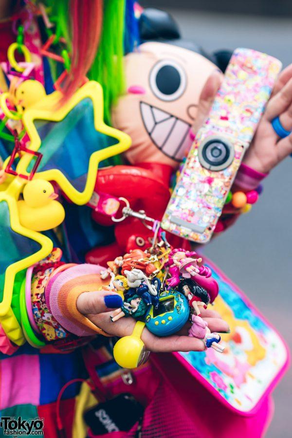 Rainbow Decora Style in Harajuku w/ Handmade Clothing, Tiered Skirt, Tomoe Shinohara Doll, Furry Leg Warmers, Care Bears, Sailor Moon & Decora Accessories 9