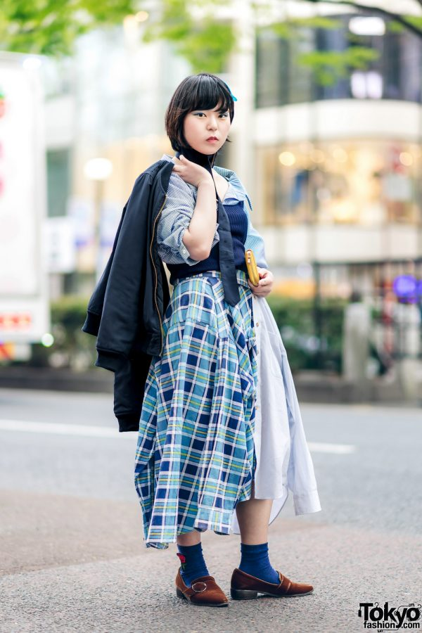 Japanese Remake Fashion in Harajuku w/ Skirt Made of Two Dress Shirts 3