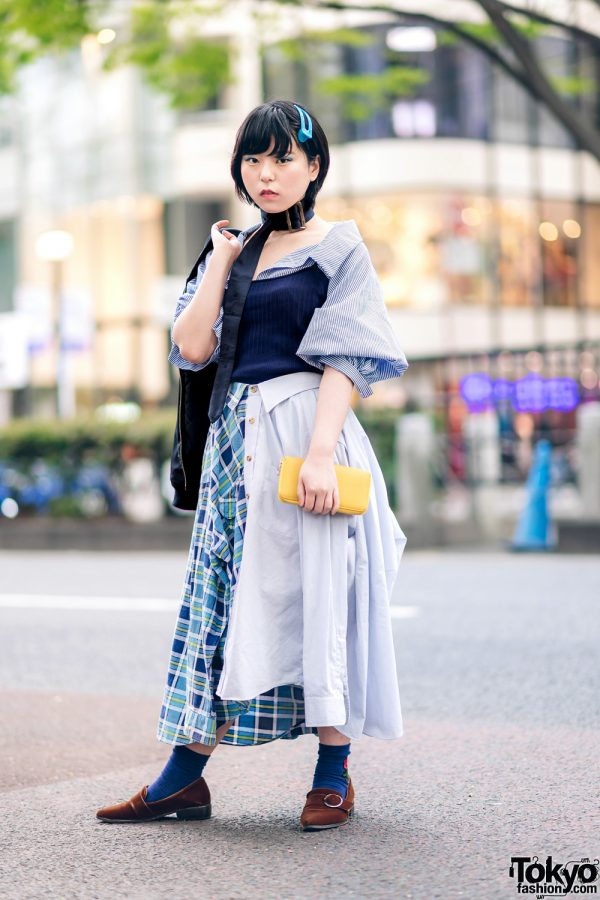 Japanese Remake Fashion in Harajuku w/ Skirt Made of Two Dress Shirts 4