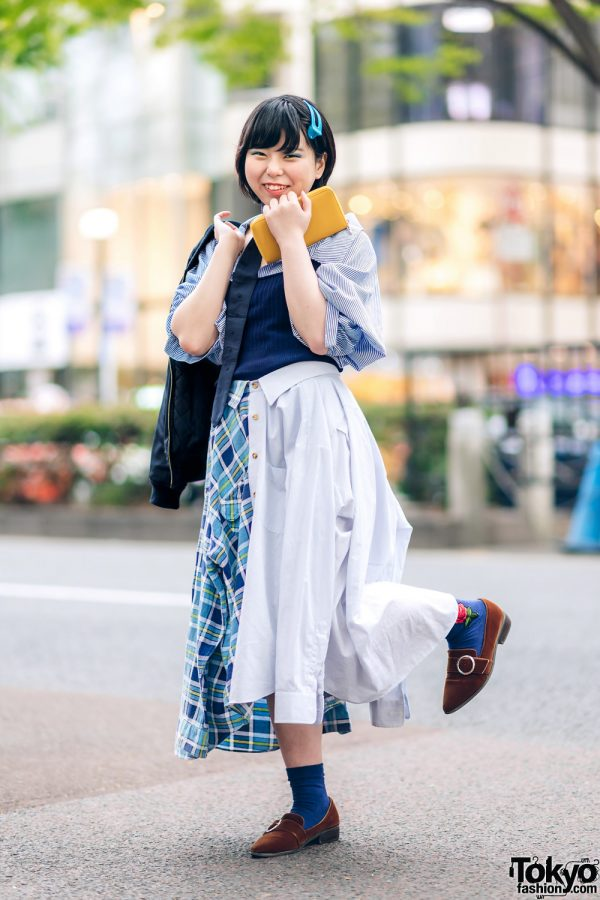 Japanese Remake Fashion in Harajuku w/ Skirt Made of Two Dress Shirts 5