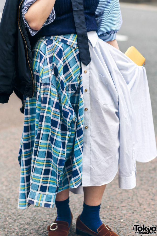 Japanese Remake Fashion in Harajuku w/ Skirt Made of Two Dress Shirts 6