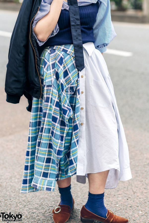 Japanese Remake Fashion in Harajuku w/ Skirt Made of Two Dress Shirts 7
