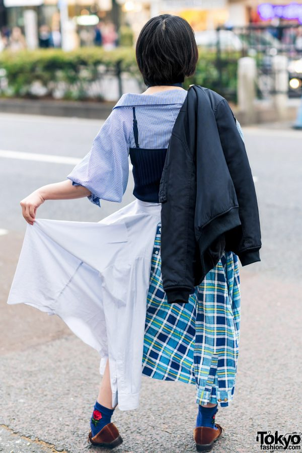 Japanese Remake Fashion in Harajuku w/ Skirt Made of Two Dress Shirts 11