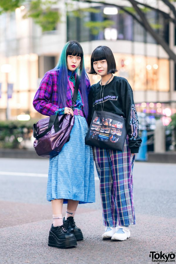 Harajuku Girls Streetwear Styles w/ Ombre Hair, RRR Vintage Plaid Blazer, Chevron Skirt, Labrat Tokyo, Kinji Plaid Pants, Demonia, Club Sexy & Nike Air Rift BR Sneakers