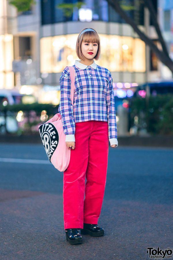 Plaid & Corduroy Street Style w/ Glitter Headband on Fringed Bob, Plaid Shirt, Corduroy Pants, Little Sunny Bite Corduroy Sling Bag & Cutout Heart Shoes