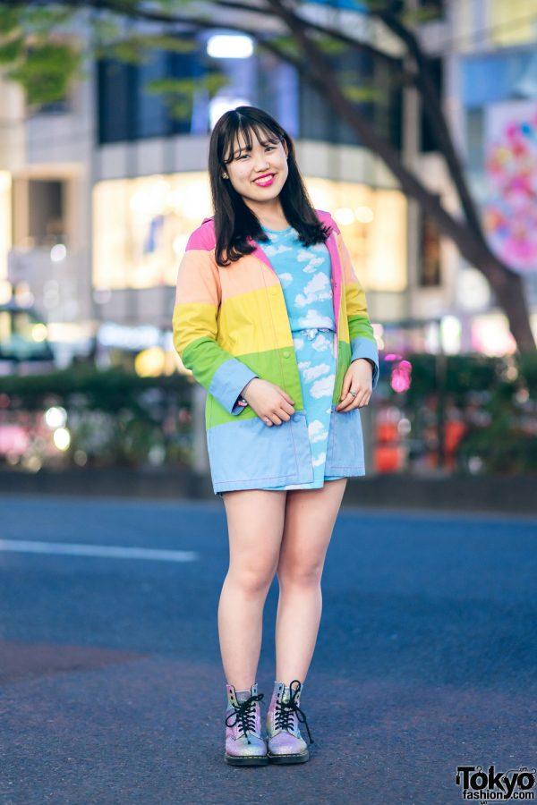 Rainbow Jacket and Cloud Print Dress Harajuku Street Style