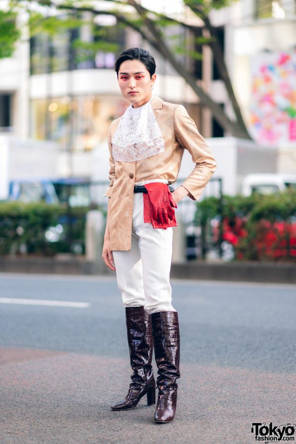 Vintage Equestrian-Inspired Japanese Street Style w/ Red Eye Makeup, Lace Cravat, Red Gloves & Crocodile Boots