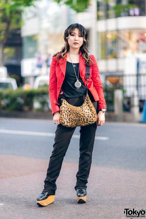 Dress Designer's Contemporary Street Style w/ Curly Hair, Jean Paul Gaultier Pants, Deaf Breed, Vivienne Westwood Furry Leopard Print Bag & Rocking Horse Shoes