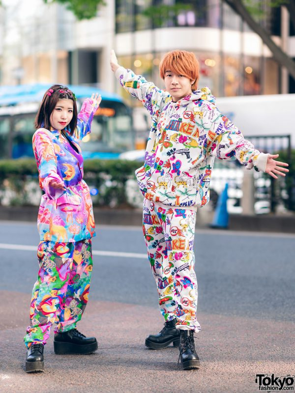 Colorful Harajuku Styles w/ Kobinai Graphic Fashion, Decora Hair Clips, Spinns Necklaces & Lace-Up Boots