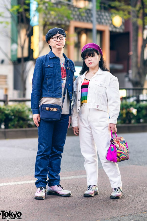 Harajuku Couple's Denim Streetwear Styles w/ Kangol Hats, Moschino, Guess, Undercover Hello Kitty Print Shirt, Sonia Rykiel Keyhole Top, Irregular Choice Bag & Dr. Martens Glitter Boots