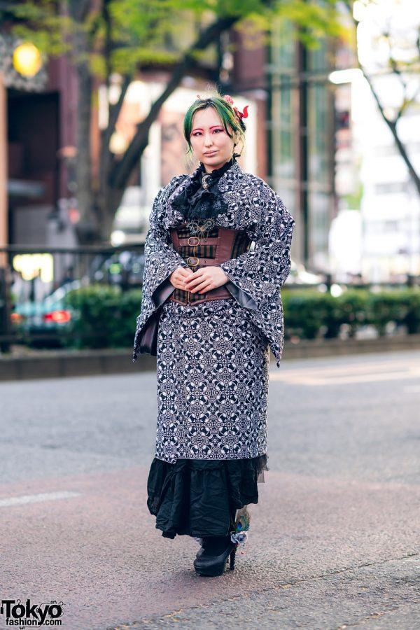 Kimono Style w/ Steampunk Accents, Corset Belt, Lace Cravat, Harry Potter Satchel Bag & Embellished Platform Pumps