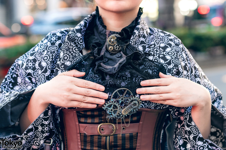 Kimono Style W Steampunk Accents Corset Belt Lace