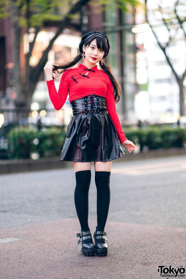 Japanese Idol in Harajuku w/ Twin Tails, Listen Flavor Beret, Cheongsam Style Top, Faux Leather Skirt & Yosuke Platforms 4