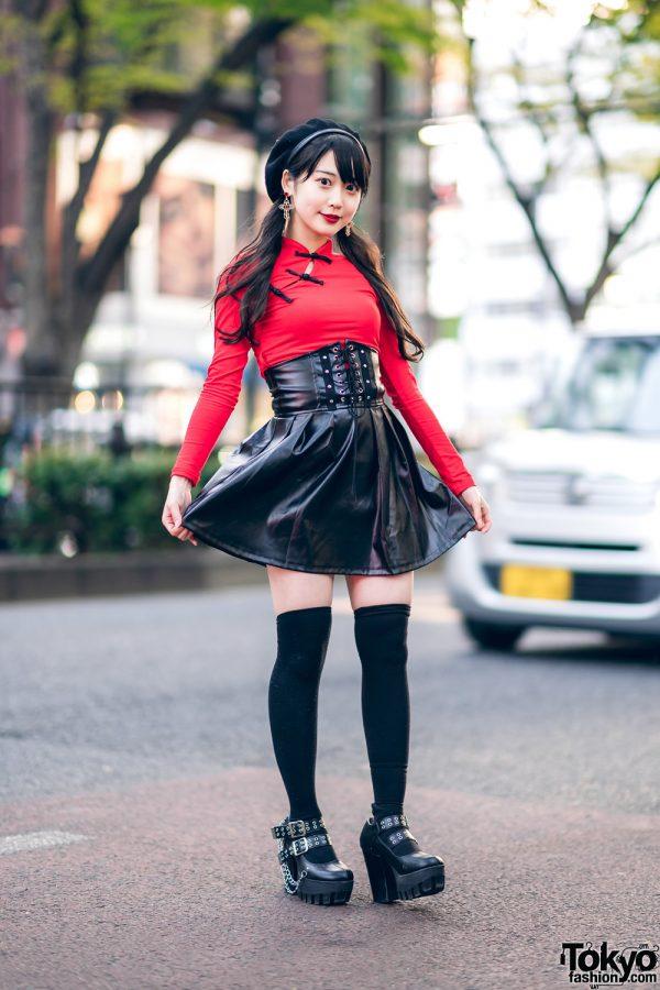 Japanese Idol in Harajuku w/ Twin Tails, Listen Flavor Beret, Cheongsam Style Top, Faux Leather Skirt & Yosuke Platforms 3