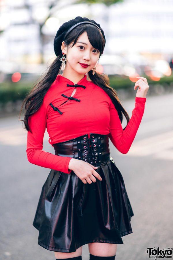 Japanese Idol in Harajuku w/ Twin Tails, Listen Flavor Beret, Cheongsam Style Top, Faux Leather Skirt & Yosuke Platforms 11