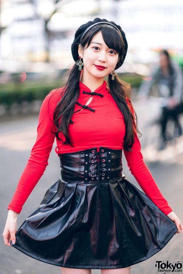Japanese Idol in Harajuku w/ Twin Tails, Listen Flavor Beret, Cheongsam Style Top, Faux Leather Skirt & Yosuke Platforms 13