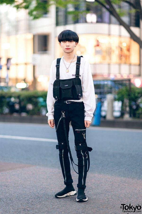 Harajuku Monochrome Street Style w/ Korean Sweatshirt, Tripp NYC Strap Pants, Balenciaga Sock Trainers & A-Wende Harness Bag