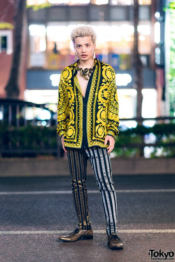 Japanese Mens Street Style in Harajuku w/ Roberto Cavalli Snake Statement Necklace, Versace Baroque Print Shirt, Striped Pants & Haider Ackermann Loafers