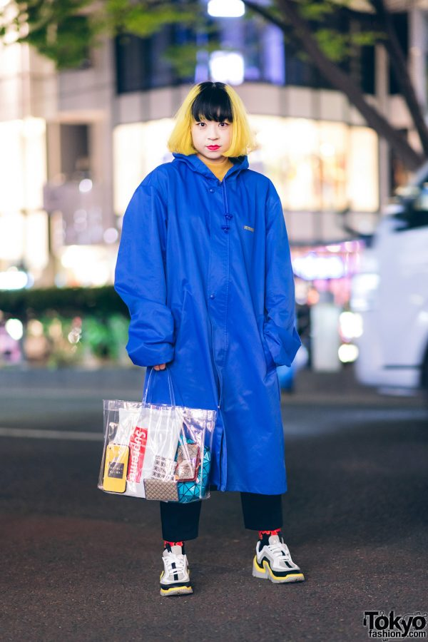 Two-Tone Hair, Vetements Hooded Maxi Coat, Pierre Hardy Sneakers & Tokyu Hands Clear Tote Bag