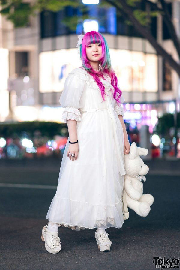 Plush Rabbit, Pink Hair & Sheer White Axes Femme Harajuku Street Style