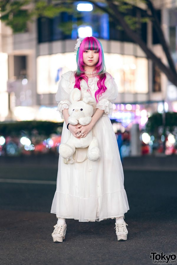 Plush Rabbit, Pink Hair & Sheer White Axes Femme Harajuku Street Style 3