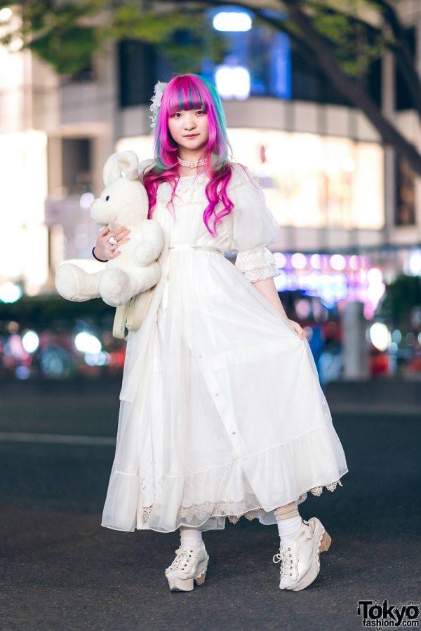 Plush Rabbit, Pink Hair & Sheer White Axes Femme Harajuku Street Style 4
