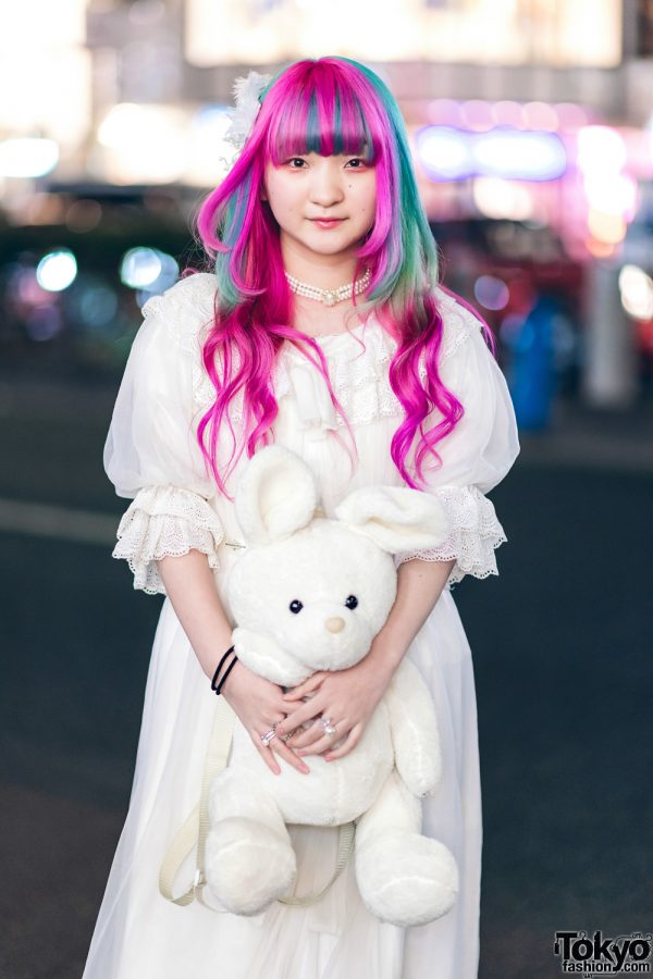 Plush Rabbit, Pink Hair & Sheer White Axes Femme Harajuku Street Style 5
