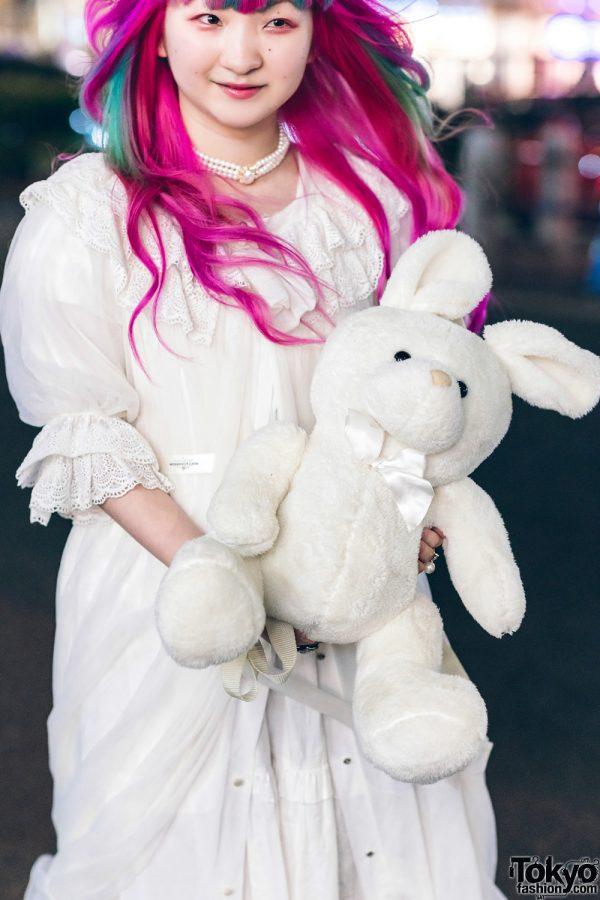 Plush Rabbit, Pink Hair & Sheer White Axes Femme Harajuku Street Style 6