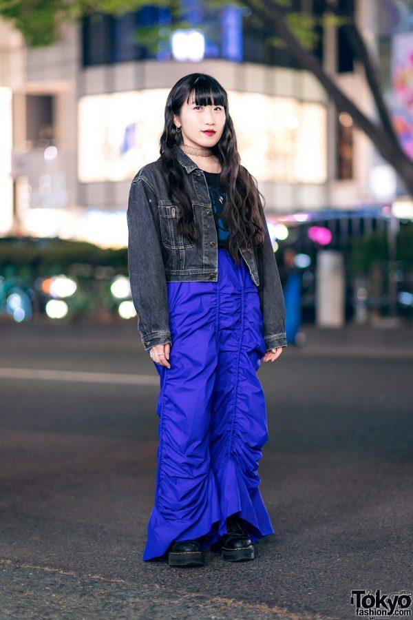 Tokyo Streetwear Style w/ Black Denim Jacket, Purple Gathered Pants & Dr. Martens Boots