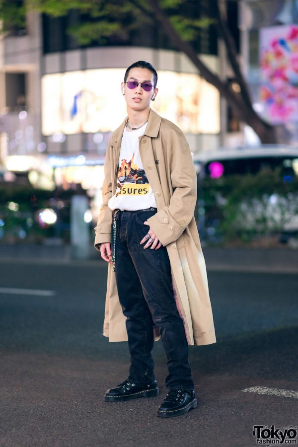 Harajuku Guy in Tan Coat & Black Boots Streetwear Style w/ Muf10, Levi's, Dr. Martens, Rat Race & Nacht