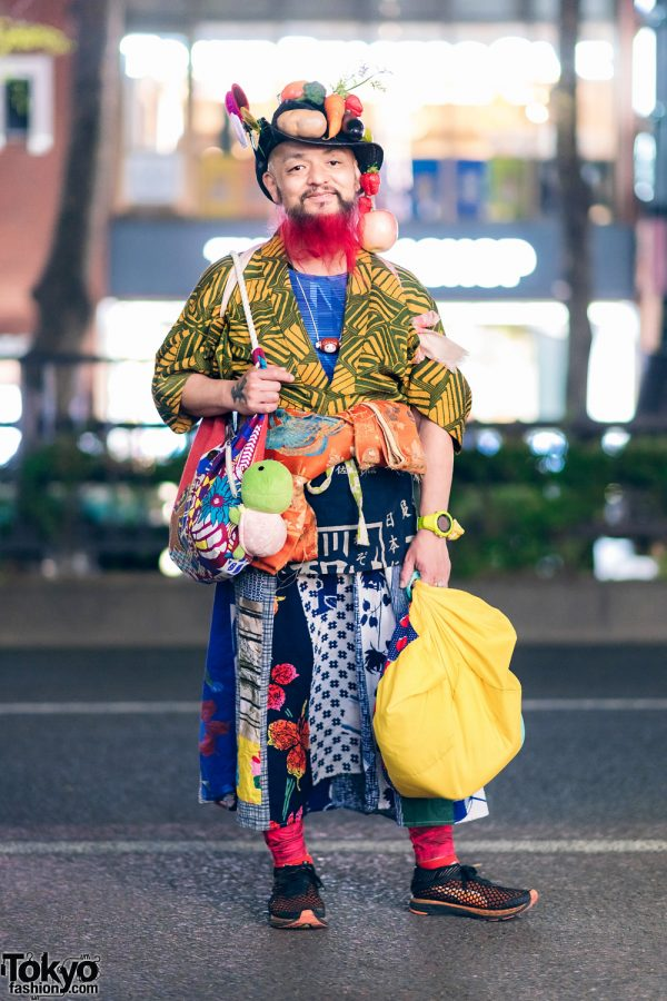 Vegetable Izakaya Chef in Harajuku Fruits Street Style w/ Colorful Traditional Japanese Prints Fashion