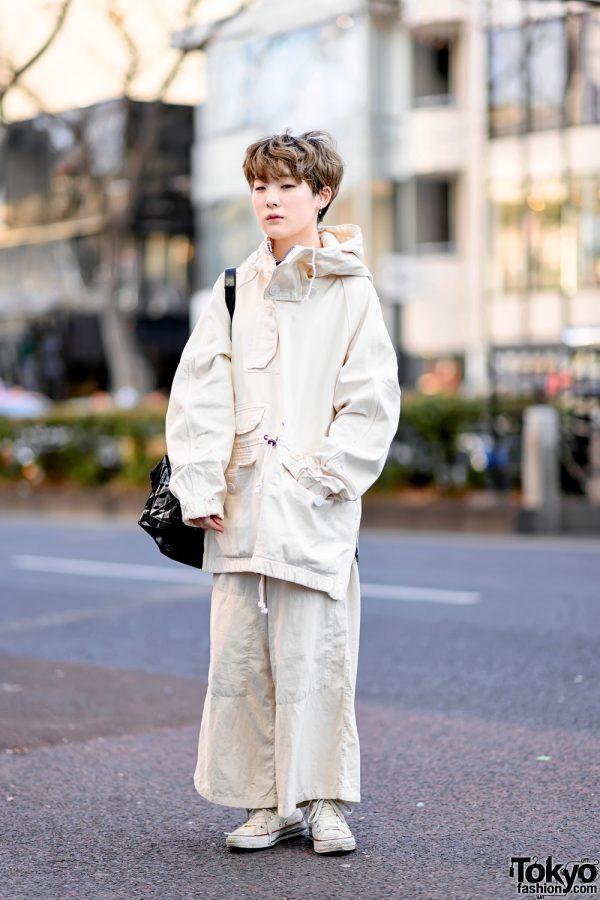 Minimalist Monochrome Street Style w/ Tomorrowland Jacket, Maison Margiela Wide Pants, Issey Miyake Origami Bag & Converse 2