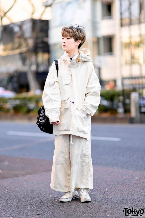 Minimalist Monochrome Street Style w/ Tomorrowland Jacket, Maison Margiela Wide Pants, Issey Miyake Origami Bag & Converse 3