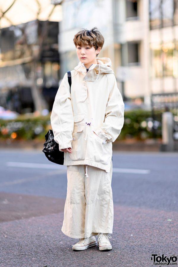 Minimalist Monochrome Street Style w/ Tomorrowland Jacket, Maison Margiela Wide Pants, Issey Miyake Origami Bag & Converse 4