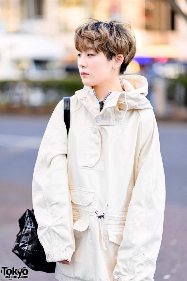 Minimalist Monochrome Street Style w/ Tomorrowland Jacket, Maison Margiela Wide Pants, Issey Miyake Origami Bag & Converse 5