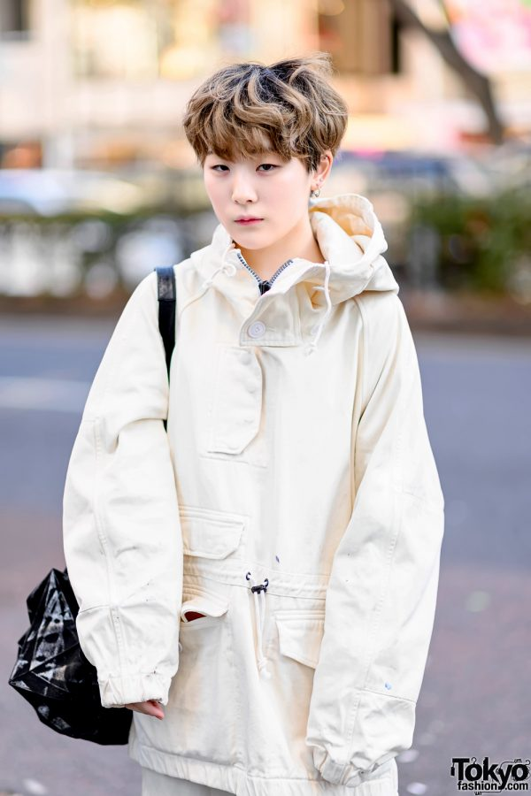 Minimalist Monochrome Street Style w/ Tomorrowland Jacket, Maison Margiela Wide Pants, Issey Miyake Origami Bag & Converse 6