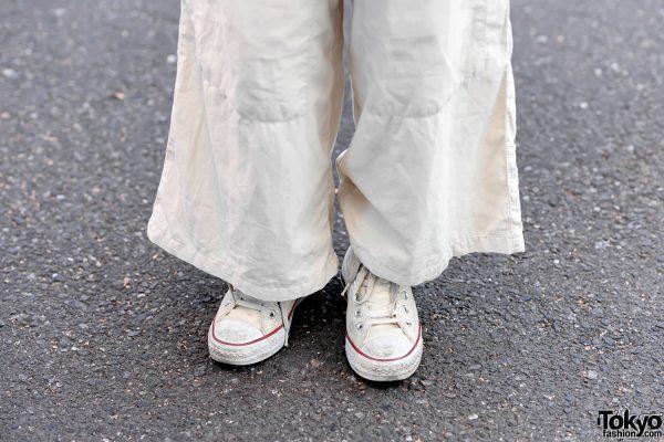 Minimalist Monochrome Street Style w/ Tomorrowland Jacket, Maison Margiela Wide Pants, Issey Miyake Origami Bag & Converse 9