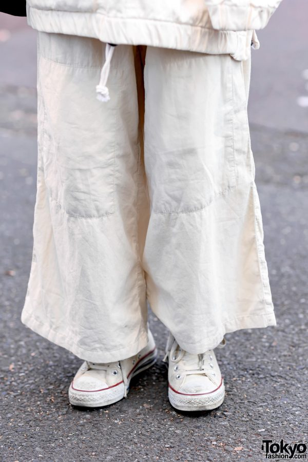 Minimalist Monochrome Street Style w/ Tomorrowland Jacket, Maison Margiela Wide Pants, Issey Miyake Origami Bag & Converse 8
